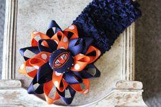 Auburn Navy Headband & Flower Hair Bow Girl / by MyPurpleMonkey