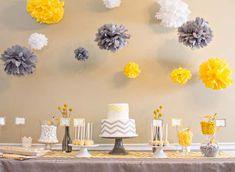 Dessert Table at a Chevron Themed Baby Shower in Yellow and Gray