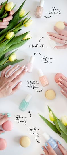 My favourite pastel Spring colours by Essie. Spin the bottle - Marshmallow - Back in the Limo - Blossom Dandy - Bikini so teeny