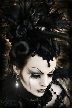 Goth elaborate black hat w/ black makeup  #hats #gothic #fashion #victorian