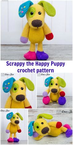 Crochet pattern for all your little scraps of yarn - and all your heart!  Fabulous scrappy puppy dog crochet pattern.