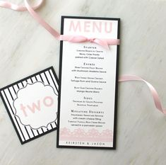 """Modern Menu Cards, Wedding Table Numbers, Pink Wedding, Black and White Stripes, Lace Wedding Decor - """"Modern Lace Stationery"""" Deposit"""