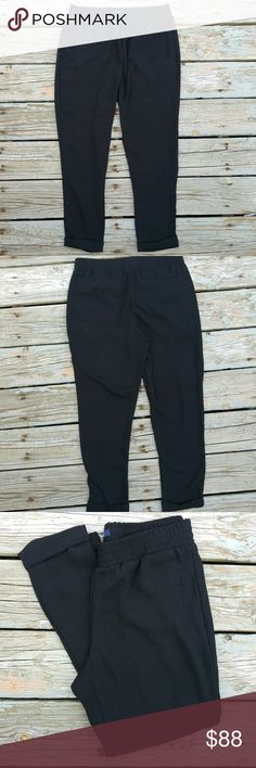 Gap Black Slacks Comfy and cute pants that go seamlessly from work to weekend! Great with a blouse for work or a slouchy tee on the weekend. Cuffed.  Size small. Stretchy waistband. Waist is 32 inches. Inseam is 26 inches.  100% polyester.  Excellent condition! No rips, stains or holes. GAP Pants Trousers