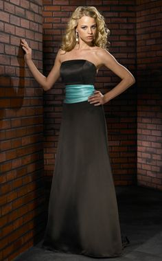 Bridesmaid Dress - Black and Tiffany Blue with apple red sash not blue