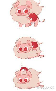 Steven universe lion and steven cute O^O