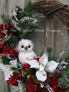 Christmas Wreath, Holiday Wreath, Owl, Woodland, Poinsettia Wreath, Designer Holiday Wreath, Elegant Christmas Wreath 159. etsy