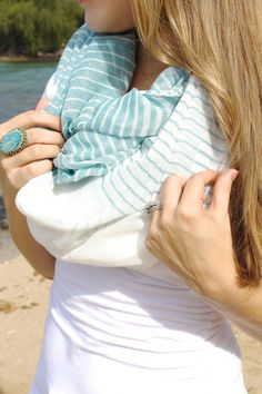Striped Infinity Scarf in Sea Blue