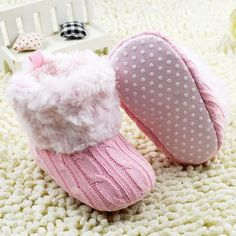 Baby Knitted Faux Fur Booties