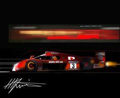 """""""BURST"""" Toshio Suzuki - Factory Toyota GT1, Le Mans.  Original Art by MLewis"""
