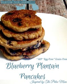 These Blueberry Plantain Pancakes are delicious! Without grains, eggs, nuts, or dairy. Fully AIP compliant.