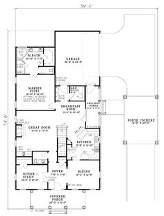 First Floor Plan of Cape Cod   House Plan 61308