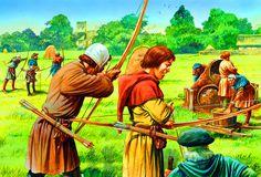 English longbowmen training with the bow