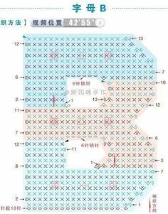 Crochet letras Crochet Alphabet Letters, Crochet Letters Pattern, Letter Patterns, Cross Stitch Alphabet, Crochet Stitches Patterns, Crochet Chart, Crochet Motif, Crochet Wool, Love Crochet