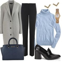 A simple, minimalist outfit for a job interview at academia