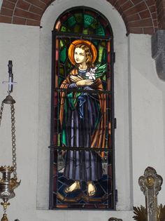 Santa Maria, St Maria Goretti, Wallpaper, Candle Sconces, Stained Glass, Saints, Wall Lights, Painting, Windows