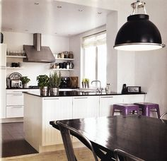 Black and white (and purple) kitchen