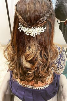 Check out this beautiful open hair hairstyle tucked with baby's breath. This hair look is perfect for small and intimate wedding.    #Indianweddings #shaadisaga #indianbridalhairstyles #hairstyleswithflowers  #intimatewedding #realflowers #Uniquecolourlehenga #halfuphalfdown #babysbreath Open Hairstyles, Indian Bridal Hairstyles, Self Design, Half Up Half Down, Baby's Breath, Real Flowers, Tie The Knots, Hair Looks, Lehenga