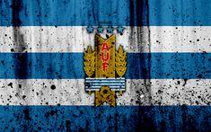 Download wallpapers Uruguay national football team, 4k, emblem, grunge, South America, football, stone texture, soccer, Uruguay, logo, South American national teams