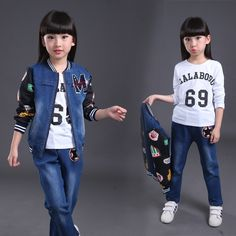 33.75$  Watch now - http://alieih.shopchina.info/go.php?t=32736371228 - Fashion high quality autumn denim tops pants and shirts kids clothes girl 3 pieces set 33.75$ #buymethat