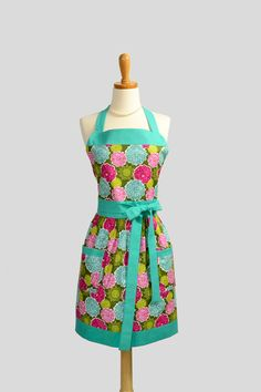 Womens Bib Apron / Dahlia Blooms in Aqua Blue by CreativeChics, $36.00 I could get a lot of housework done in this!