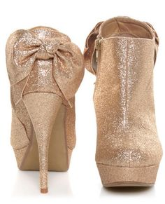 Glittery booties with bows!