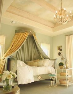 Love the bed crown/cornice with drapes