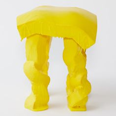 Fondue Stool by Satsuki Ohata these stools constructed from kitchen sponge are drenched in vivid yellow PVC by Tokyo-based product designer Satsuki Ohata to create drooping forms reminiscent of melting cheese Milan 2015