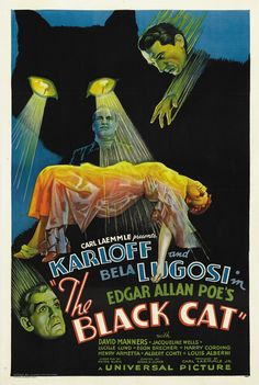 "Carl Laemmel Presents Karloff And Bela Lugosi In Edgar Allan Poe's ""The Black Cat"" With David Manners, Jacqueline Wells Lucille Lund, Egon Brecher, Harry Cording Hendrey Armetta, Albert Conti, Lous Al"