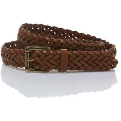 L.L.Bean Signature Signature Braided Leather Belt ($49) ❤ liked on Polyvore featuring accessories, belts, leather belts, braided leather belt, genuine leather belts, real leather belts and woven belt