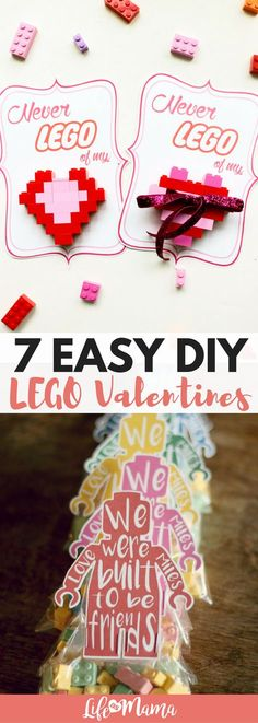 These LEGO valentines cards are easy and cute! Check out this list for great DIY valentines ideas. #valentines #valentinesday #LEGO #legovalentines #DIYvalentines #valentinescards