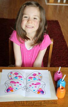 Straw Painting: Fine Motor Butterflies   Still Playing School