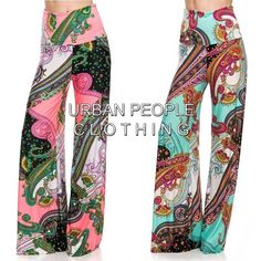 SEXY FOLD OVER WAIST FLARED WIDE LEG PSYCHEDELIC PRINT PALAZZO PANTS S/M/L USA #Other #PalazzoPants
