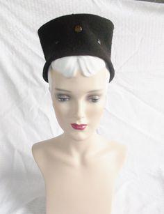 30's 40's Vintage Brown Felt Tall Hat with by MyVintageHatShop