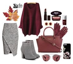 """""""Shein Contest • Red Loose Sweater"""" by by-jwp ❤ liked on Polyvore featuring H&M, John Lewis, Kenneth Cole Reaction, MICHAEL Michael Kors, Christian Dior, Croft & Barrow, House of Harlow 1960, Laura Mercier, contest and sweaterweather"""