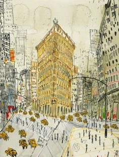 flatiron building- pen & ink drawing by clare caufield.