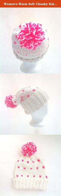 Women's Warm Soft Chunky Knit Slouchy Winter Hat in Cream and Hot Pink with Pom Pom. What a fun knit winter slouchy hat! Super soft and chunky it's perfect for the colder months. Love the bright pink & warm cream yarn together. They give the hat a very cheerful look during long winters and its topped off with a fun pompom. This winter hat can be worn as a slouchy or fitted hat. There is a nice wide brim which allows versatility. Knit with a wool blend yarn.