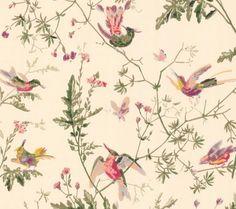 Cole & Son behang Hummingbird - crème/ zachtroze