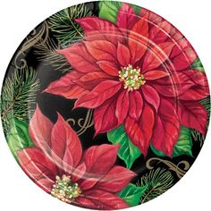 These large paper Posh Poinsettia Dinner Plates feature 2 flowers in full bloom. The black background has elegant gold detailing to elevate your table setting. Oktoberfest Halloween, Arte Country, Disposable Tableware, Pine Branch, Plastic Tablecloth, Plate Display, Halloween Costume Shop, Kids Party Supplies, Party Stores