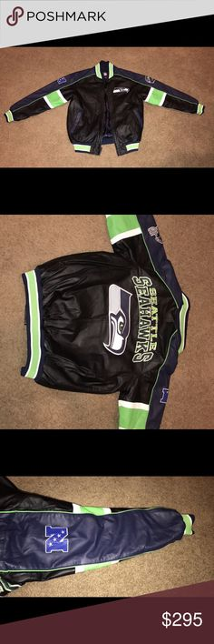 *BRAND NEW Seattle Seahawks Genuine Leather Jacket Paid $350, asking for $290. Size Medium but does fit large. Worn once. NFL Jackets & Coats Bomber & Varsity