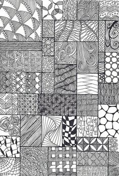 zentangles (looks like a patchwork quilt in ink!)