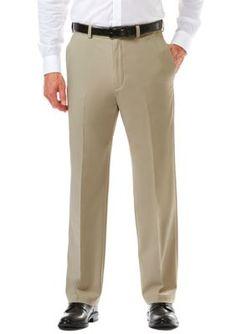 Haggar Khaki Cool 18 Pro Classic Fit Flat Front Hidden Expandable Waistband Pants