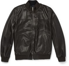 $3,530, Isaia Reversible Leather Jacket. Sold by MR PORTER. Click for more info: https://lookastic.com/men/shop_items/328894/redirect