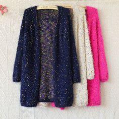 Fashion Dark Blue Elegant Mohair Sweaters