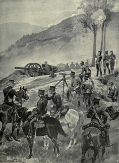Illustration of a Japanese field battery in action on the rugged heights encircling Port Arthur, 1904. The artillery piece depicted is the Type 31 75mm field gun.