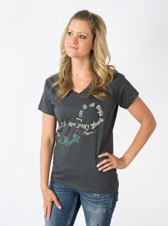 Christ Strengthens Me - Charcoal V Neck Christian T-Shirt on SonGear.com