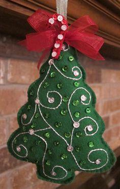 Handmade Felt 2014 Christmas Tree Ornaments, 2014 Christmas Tree Ornaments With Sequins