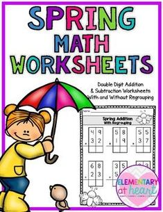 Spring is in the air!! These 16 printable math worksheets will help students practice their addition and subtraction skills. Included:6 Addition and Subtraction with and without regrouping Worksheets ( with boxes for support)4 Addition and Subtraction with and without regrouping Worksheets4 True or False Addition and Subtraction Equations These printable worksheets can be used for:- Morning Work- Math Centers- Homework- Reinforcement SPRING resources!