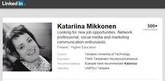 TAIDOT: Verkostotyöskentely. Minulla on vahvat yhteistyöverkostot moniin alueellisiin ja valtakunnallisiin sidosryhmiin. Viestintä- ja markkinointiasioissa olen tehnyt tiivistä yhteistyötä korkeakoulujen viestintäyksiköiden kanssa sekä Tredean seutumarkkinointiporukan kanssa (#tampereallbright). Muut alueelliset yhteistyökumppanit ovat olleet: ELY-keskus, Tampereen kauppakamari, Tredea, TE-toimisto, Tampereen kaupunki, mainosalan toimijoita ja Talent Tampere -kehittäjäverkosto…