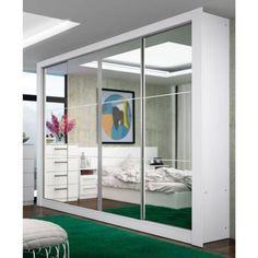 Foto 1 - Guarda-roupa Madesa New Jersey 4 Portas De Correr Com Espelho E 4 Gavetas Branco
