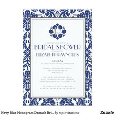 Navy Blue Monogram Damask Bridal Shower InvitationNavy blue monogram damask bridal shower invite! Navy blue monogram damask bridal shower! Navy blue monogram damask everything! Stop shopping around and buy these perfect monogram damask bridal shower invitations from Zazzle. Keep the do-it-yourself fun by personalizing this invitation design template with your own bridal shower information and details.
